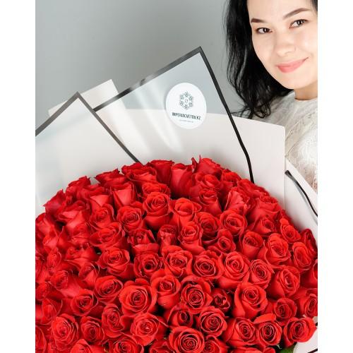 Купить на заказ Букет из 101 красной розы с доставкой в Хромтау